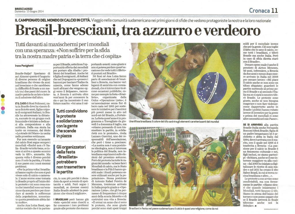 BRESCIA OGGI - 2014.06.14 -Sabor Brasil ricette di cucina Brasiliana