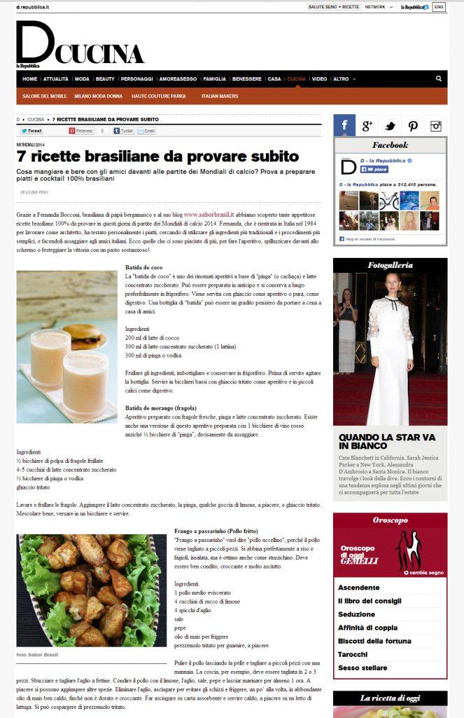 D REPUBBLICA - CUCINA 2014.06.13 -Sabor Brasil ricette di cucina Brasiliana