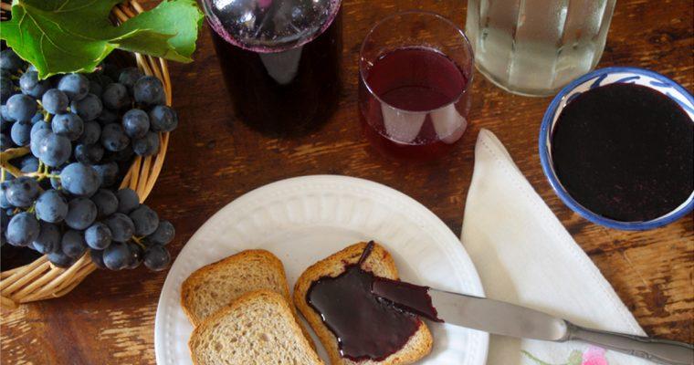 Suco e geléia de uva