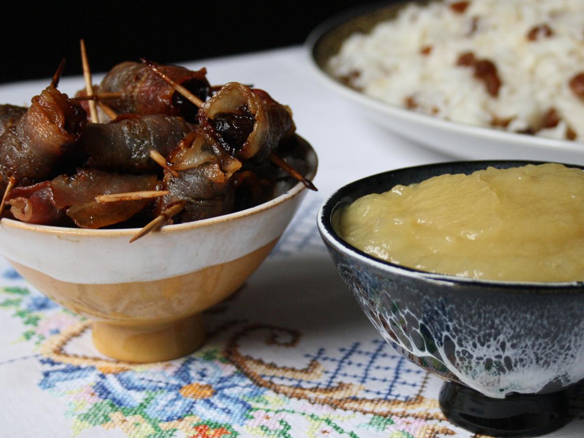 Ameixa com bacon e Purê de maçã (Prugna con pancetta e Purè di mela)